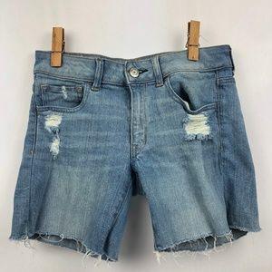 American Eagle MIDI Distress Denim Stretch Shorts